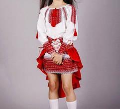 Модный вышитый костюм для девочки Павлин БП