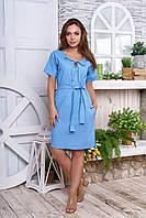 Льняное платье свободного кроя 50, Бежевый