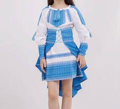 Модный вышитый костюм для девочки Павлин синий БП