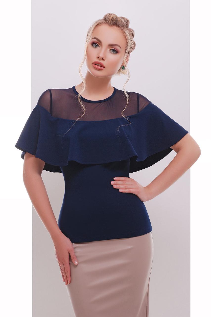 Летняя синяя блузка с сетчатой вставкой и драпировкой-воланом Сонья б/р