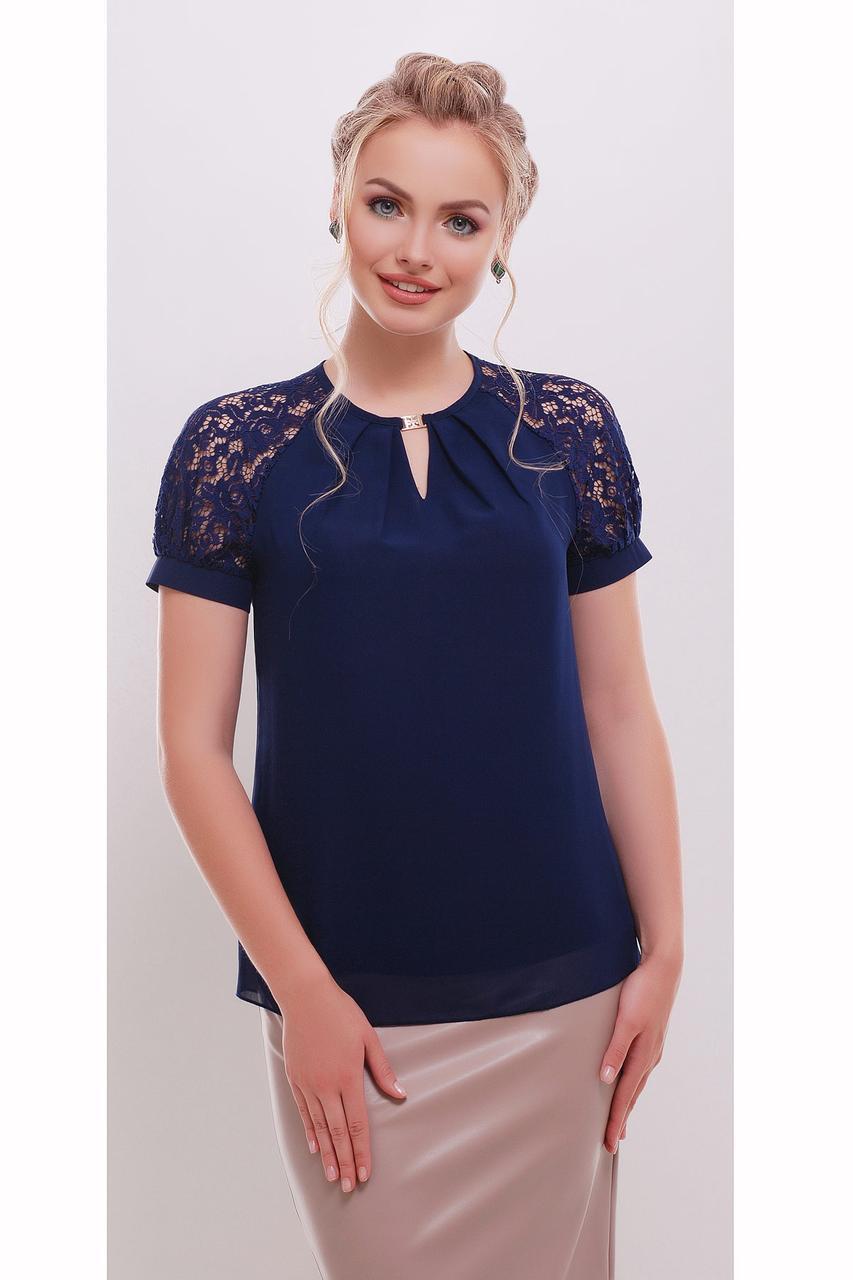 Легкая темно-синяя блузка с коротким гипюровым рукавом Ильва к/р