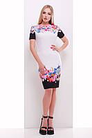 Летнее платье-футляр белое до колена с принтом Цветочный букет