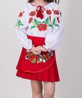 Детская блуза с вышивкой гладью на поплине БП