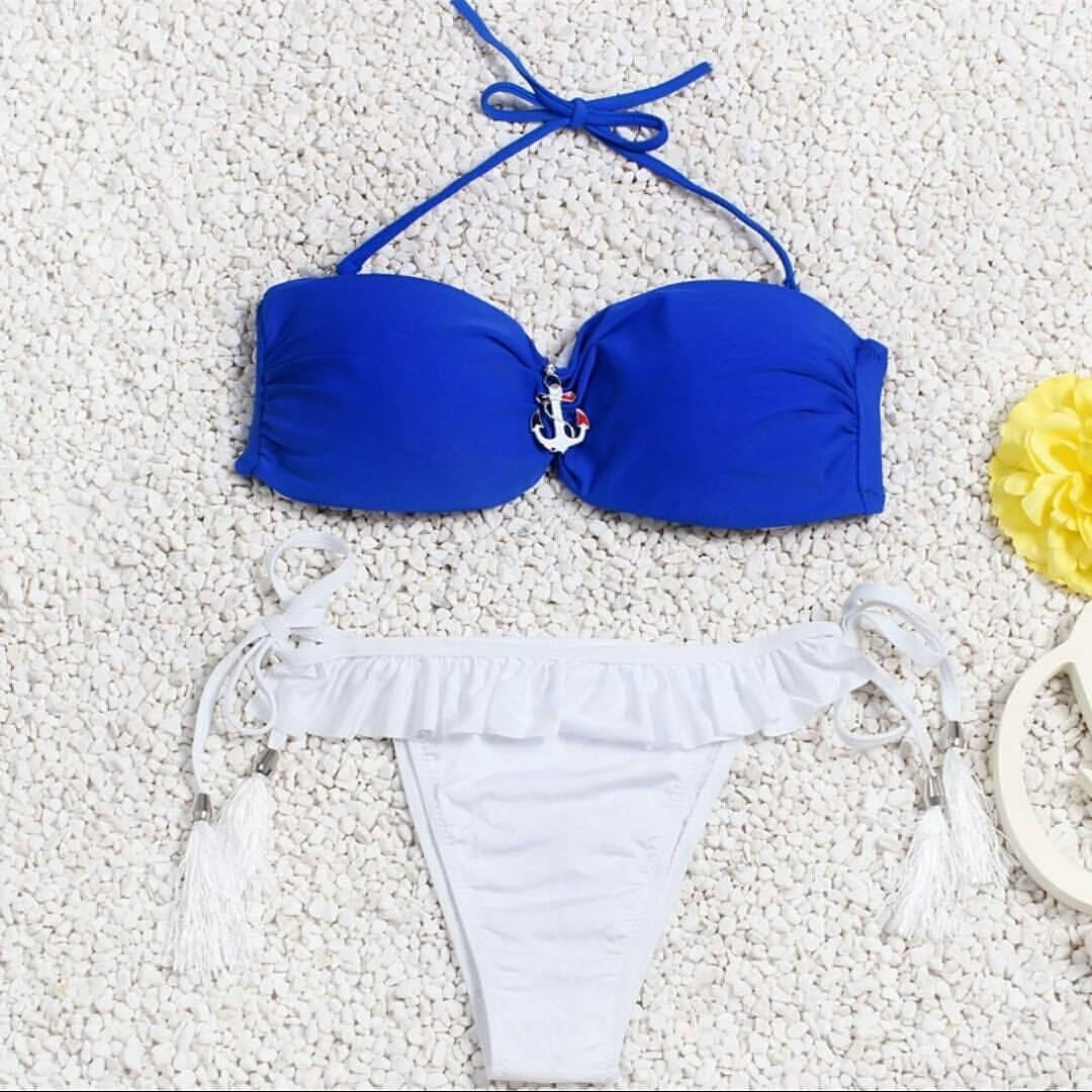 Женский купальник blue-white размер S