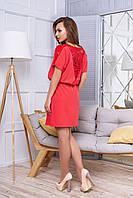 Платье свободного кроя с гипюровыми вставками  44, Коралловый