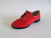 Туфли для девочек лаковые на шнурках и молнии