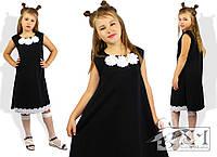 Сарафан школьный для девочки подростковый нарядный черный с белой отделкой Цветы