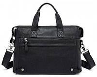 Классическая мужская кожаная сумка Jasper & Maine; 7120A-1, чёрный 38х27х6 см.