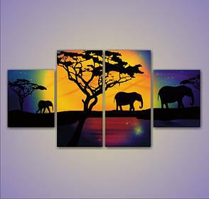 """Модульная картина """"Три слона"""""""