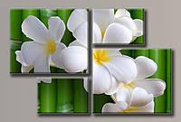 Картины модульные цветы на бамбуке