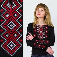 Вышиванка женская с длинным рукавом Орнамент красный S