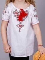 Летняя льняная вышиванка для девочки БП