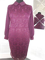 Платье нарядное бордо гипюр большого размера 52-54