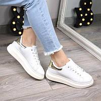 Кроссовки женские Queen Collection белые с золотом 3480, спортивная обувь