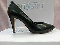Классические туфли лодочки черная кожа на среднем каблуке