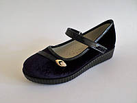 Туфли школьные для девочек на танкетке, с застёжкой липучкой