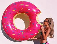 Надувной розовый круг пончик 120 см