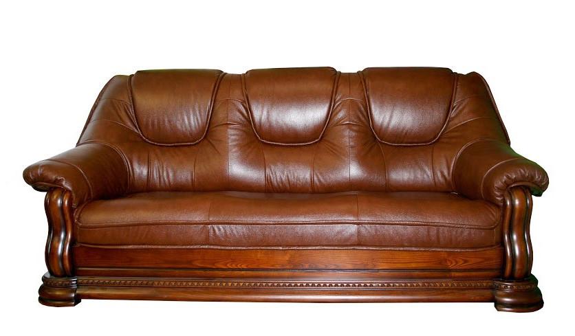 Шкіряний диван Грізлі лайт, не розкладний диван, м'який диван, меблі з шкіри