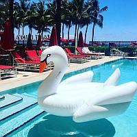Надувной белый матрас лебедь 200 см, фото 1