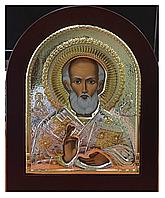 Николай Угодник Икона в Славянском, Русском стиле, Silver Axion (Греция) Серебряная с позолотой 156 х 190 мм