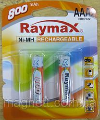 Акумуляторна батарея (акумулятор) AAA 800 mAh, Raymax, 2 шт, 1.2 V, Blister