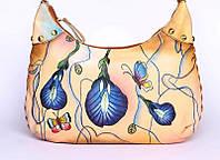 Яскрава жіноча сумка з натуральної шкіри з ручним розписом, фото 1