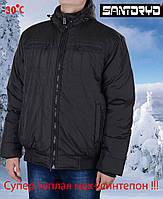 Теплая мужская куртка осень-зима,с оливковым отливом с капюшоном.