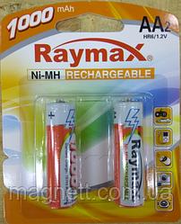 Перезаряжаемая батарейка (аккумулятор) AA, 1000 mAh, Raymax, 2 шт, 1.2V, Blister