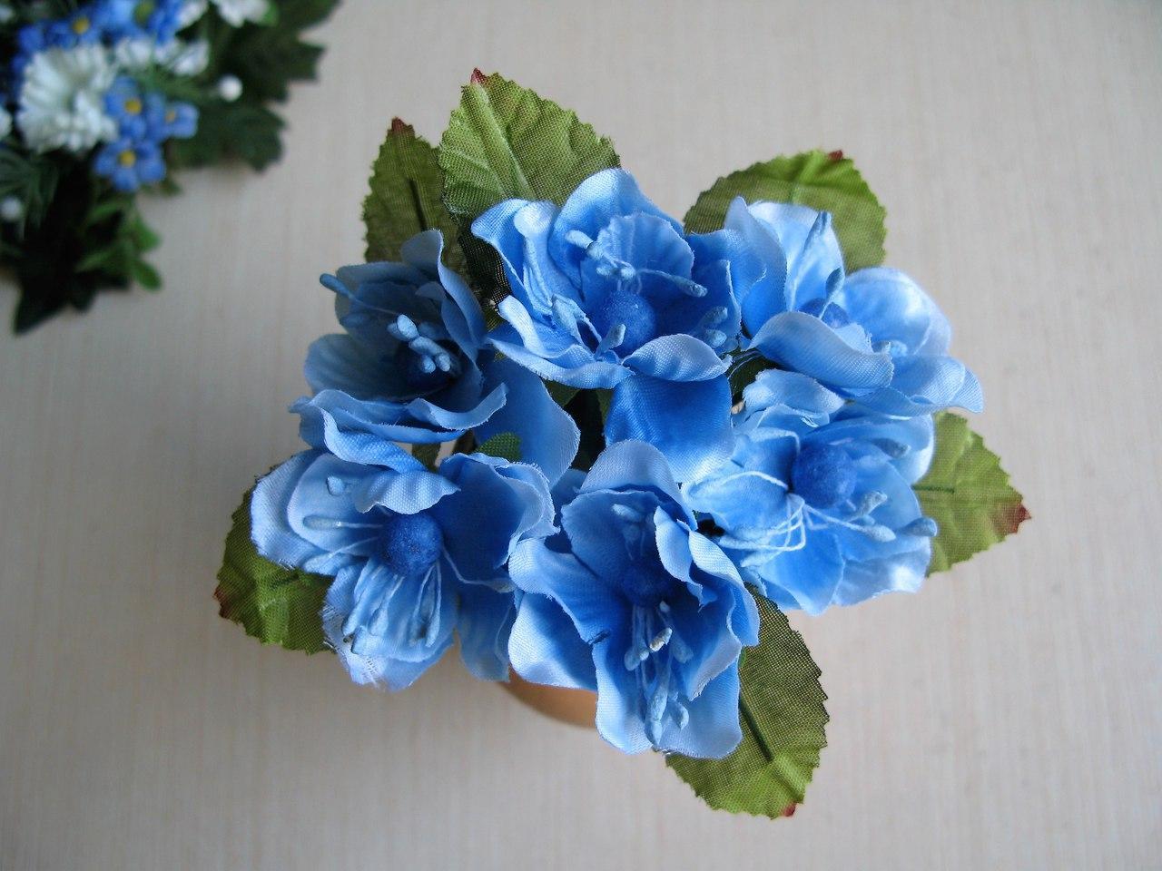 Цветы вишни с листиками цвет голубой.