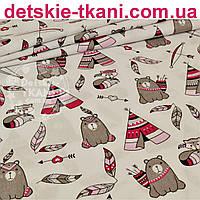 """Бязь польская """"Мишки - индейцы"""", цвет серый с малиновым на белом фоне, № 843"""