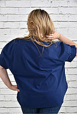 Женская блузка больших размеров 0340 синяя, фото 3