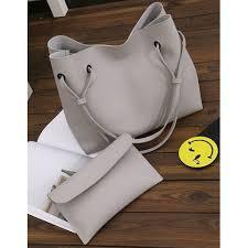 Женская большая серая сумка с кошельком