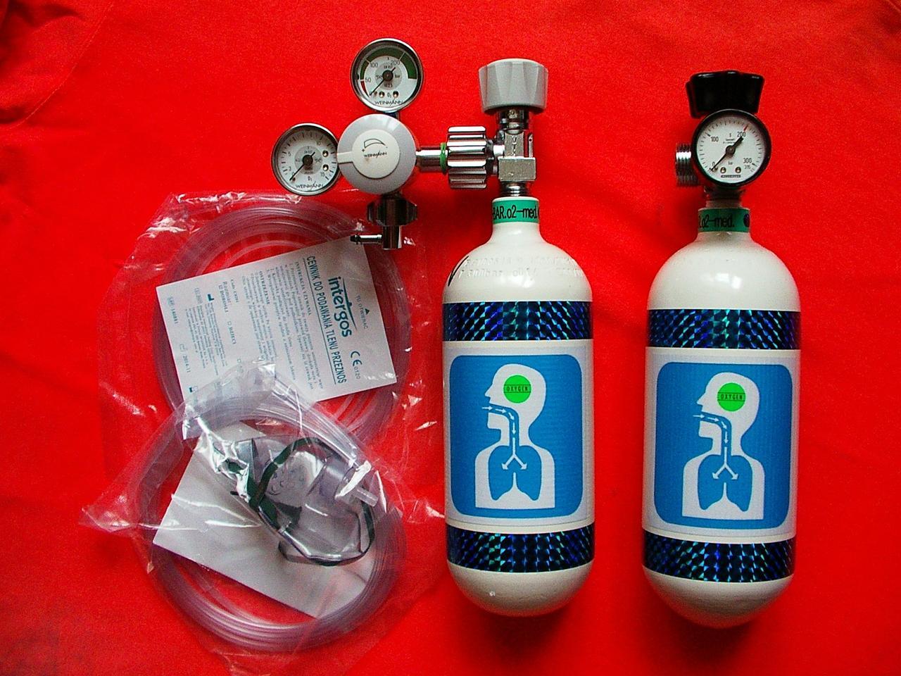 Комплект из 2 кислородных баллонов 0.8L с регулятором OXYGEN KIT
