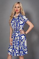 Легкое летнее платье-рубашка р 44-46,46-48,48-50 молочное