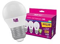 Светодиодная лампа ELM 5W G45 PA10L E27 4000K пак 3шт