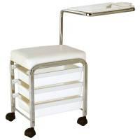 Тележка педикюрная , стул мастера педикюра DORA с ящиками и столиком на колесах
