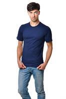 Футболка мужская с круглым вырезом 100% хлопок - темно-синий