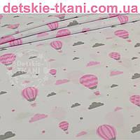 """Бязь польская """"Воздушные шары с облаками"""" розового цвета № 845"""