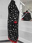 Плаття чорне горох з оздобленням екокожа великого розміру, фото 2