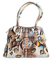 """Стильная женская сумка """"Змейка"""", из натуральной кожи с ручной росписью"""