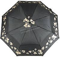 Женский симпатичный прочный зонтик полуавтомат FEELING RAIN art. 302A черный с листиками (100228)