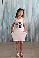 Платье летнее трикотажное для девочки, Котики, Breeze.