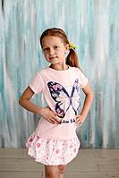 Футболка розовая для девочки, Бабочка, Breeze (Hankur). Рост 116 см.