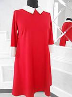 Платье молодежное красное с белой отделкой большого размера