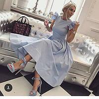 Модное платье с юбкой на сборке в длине миди