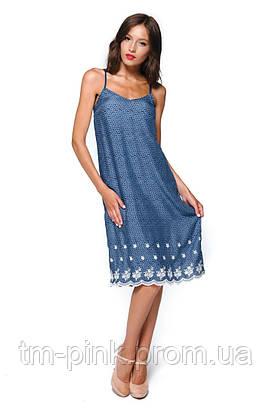 """Сукня бретелі низ мереживо """"Tiffany"""" синій принт"""