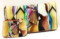 Удобная сумка-клатч из натуральной кожи с ручной росписью