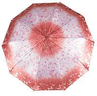 Женский симпатичный стильный прочный зонтик полуавтомат BELLISSIMO art. 401 розовый в бабочках  (100253)