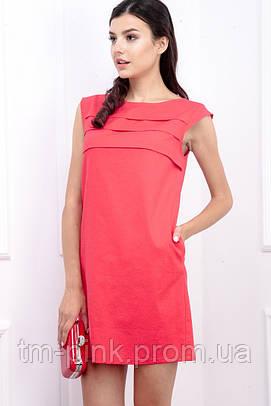 """Сукня горизонтальні складки котон """"Еко"""" червона"""