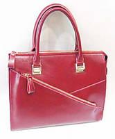 Красная женская сумка из натуральной кожи